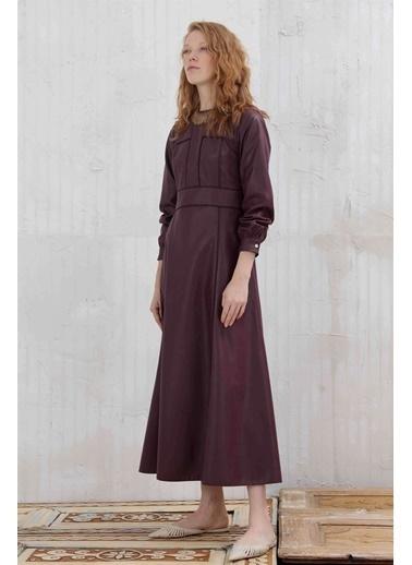 Vivencia Suni Deri Kadın Elbise  Mürdüm